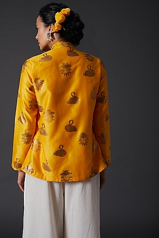Yellow Block Printed Tunic by Balance by Rohit Bal
