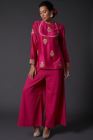 Fuchsia Embroidered Tunic by Balance by Rohit Bal
