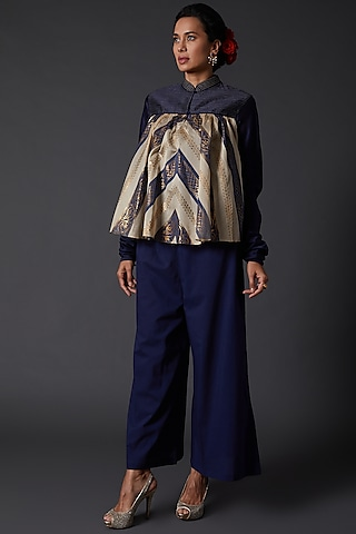 Indigo Blue Block Printed Kurta Set by Balance by Rohit Bal