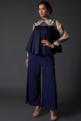 Indigo Blue Block Printed Chanderi Silk Tunic by Balance by Rohit Bal
