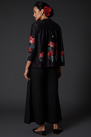 Black Digital Printed Tunic by Balance by Rohit Bal