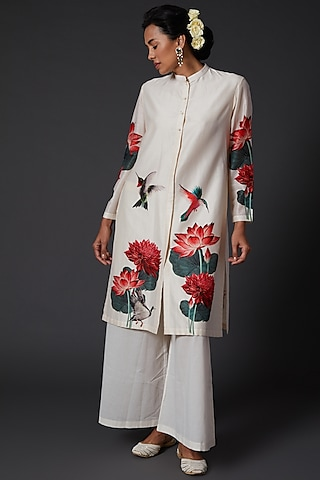 Ivory Digital Printed Kurta Set by Balance by Rohit Bal