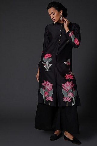 Black Printed & Embroidered Kurta Set by Balance by Rohit Bal