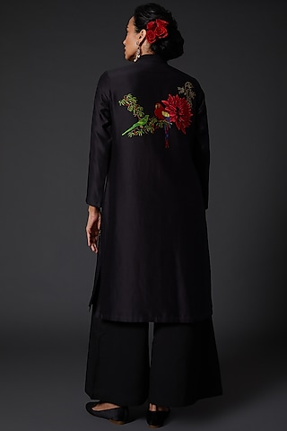 Black Printed & Embroidered Chanderi Silk Kurta Set by Balance by Rohit Bal