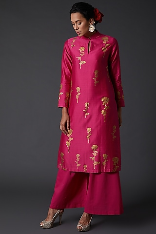 Fuchsia Block Printed Kurta Set in Chanderi Silk by Balance by Rohit Bal