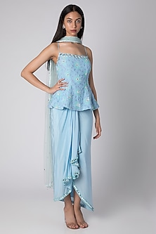 Powder Blue Embroidered Draped Lehenga Set by Rebecca Dewan