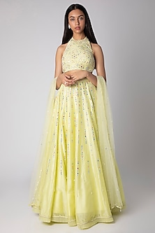 Lime Yellow Embroidered Lehenga Set by Rebecca Dewan