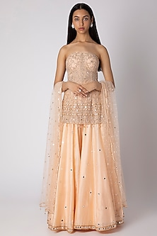 Peach Embroidered Kurta Set by Rebecca Dewan