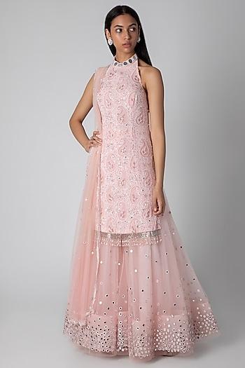 Blush Pink Embroidered Kurta Set by Rebecca Dewan