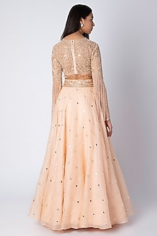 Peach Embroidered Gharara Set by Rebecca Dewan