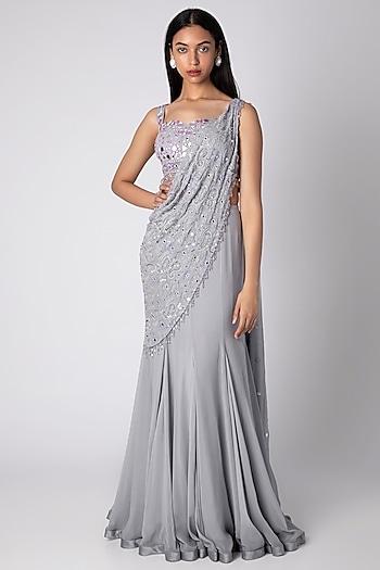 Grey Embroidered Saree Set by Rebecca Dewan