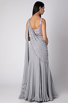 Grey Embroidered Saree Set by Rebecca Dewan