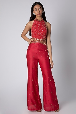 Maroon Embroidered Tasseled Jumpsuit by Rebecca Dewan