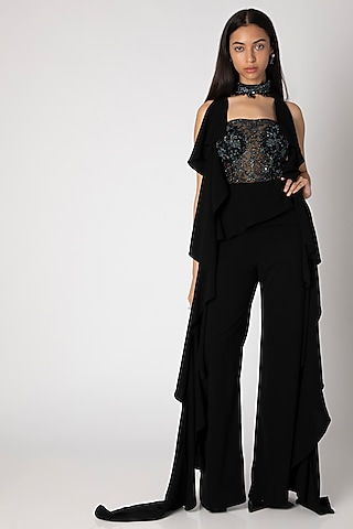 Black Embroidered Jumpsuit With Choker by Rebecca Dewan