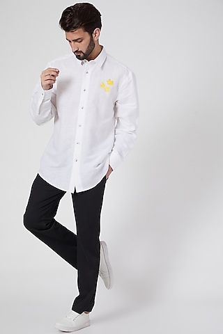 White Hand Painted Shirt by Ravi Bajaj