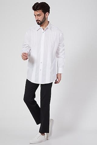White Cotton Shirt by Ravi Bajaj