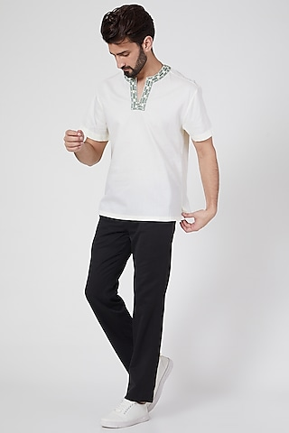 Lemon Embroidered Shirt by Ravi Bajaj