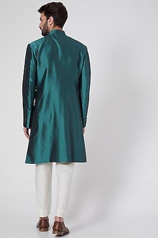 Emerald Green Viscose Sherwani by Ravi Bajaj