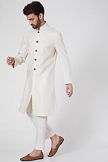 Ivory Silk Jacquard Achkan Kurta by Ravi Bajaj-POPULAR PRODUCTS AT STORE