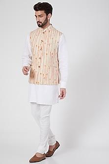 Nude Floral Printed Gilet Jacket by Ravi Bajaj-POPULAR PRODUCTS AT STORE