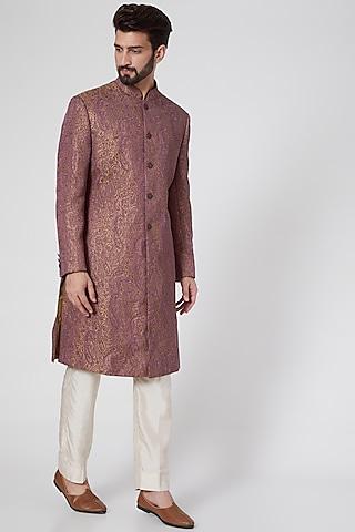 Gold & Mauve Silk Sherwani by Ravi Bajaj