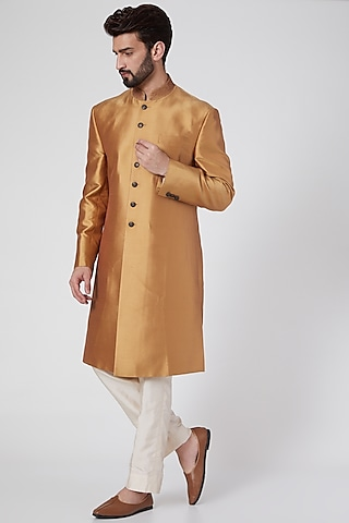 Orange Gold Silk Sherwani by Ravi Bajaj