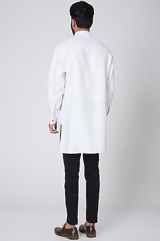 White Linen Kurta  by Ravi Bajaj