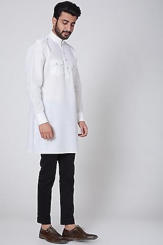 White Fringed Cotton Kurta by Ravi Bajaj