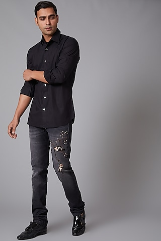 Grey Flamingo Embroidered Jeans by Rohit Bal Men