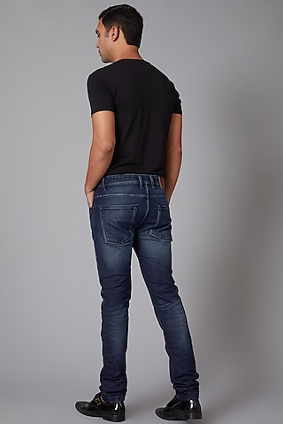 Cobalt Blue Parrot Embroidered Cotton Jeans by Rohit Bal Men