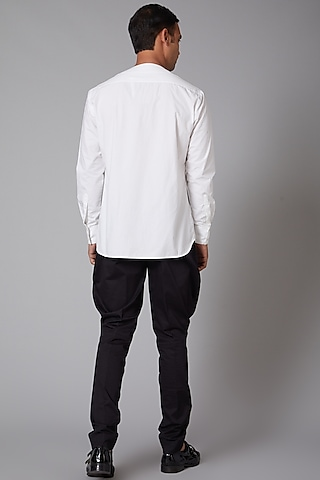 White Poplin Embroidered Shirt by Rohit Bal Men