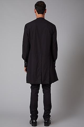 Black Poplin Embroidered Shirt by Rohit Bal Men
