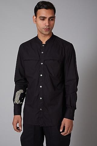 Black Poplin Shirt by Rohit Bal Men