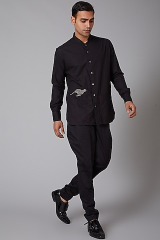 Black Embroidered Shirt by Rohit Bal Men
