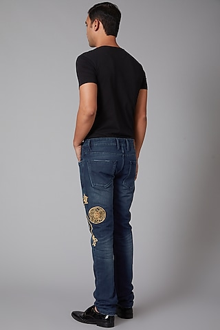 Cobalt Blue Jesus Embroidered Jeans by Rohit Bal Men