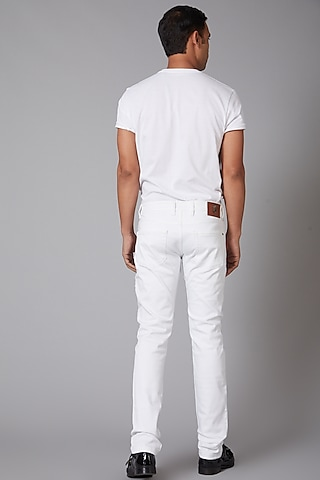 White Cotton Bird Embroidered Jeans by Rohit Bal Men