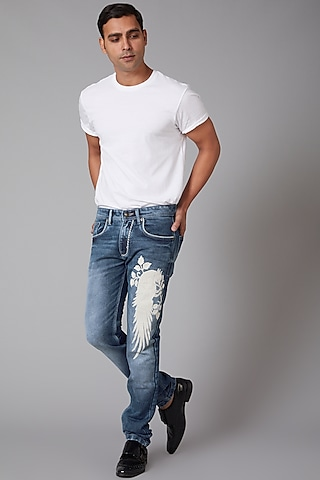 Sky Blue Embroidered Cotton Jeans by Rohit Bal Men