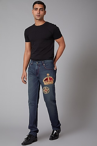 Cobalt Blue Crown Embroidered Cotton Jeans by Rohit Bal Men