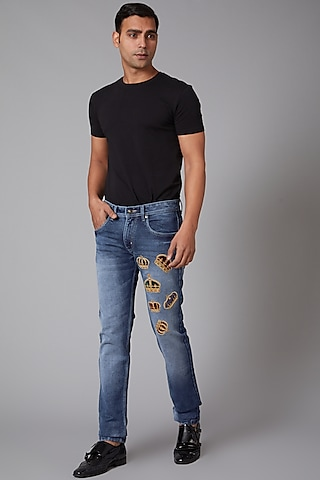 Cobalt Blue Small Crowns Embroidered Jeans by Rohit Bal Men