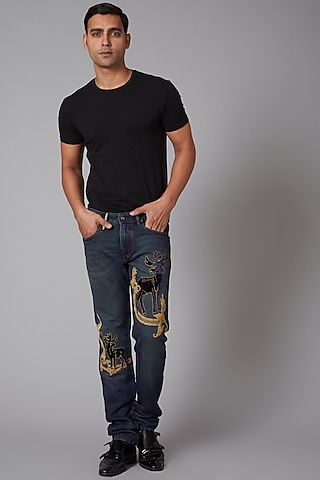 Cobalt Blue Reindeer Embroidered Jeans by Rohit Bal Men