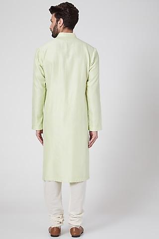 Mint Green Pintucked Kurta Set by Rohit Bal Men