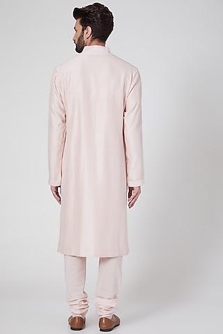 Powder Pink Pintucked Kurta Set by Rohit Bal Men