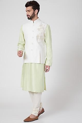 Ivory Machine Embroidered Nehru Jacket by Rohit Bal Men