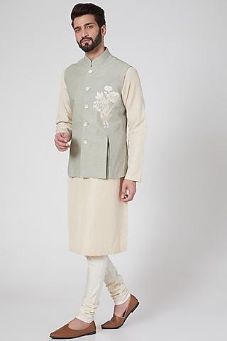 Sage Green Machine Embroidered Nehru Jacket by Rohit Bal Men