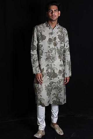 Grey Digital Printed Kurta Set by Rohit Bal Men