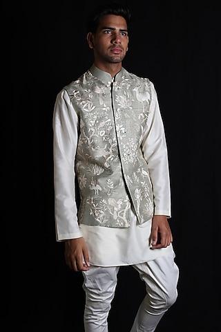 Mint Green Embroidered Bundi Jacket by Rohit Bal Men