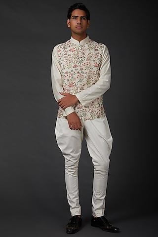 Ivory Embroidered Bundi Jacket by Rohit Bal Men