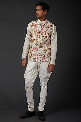 Ivory Bundi Jacket With Embroidery by Rohit Bal Men