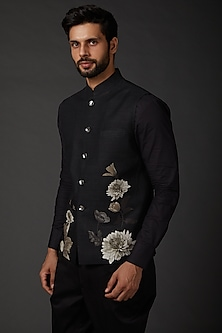 Indigo Blue Linen Printed Bundi Jacket by Rohit Bal Men