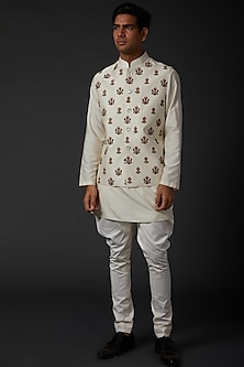 Ivory Bundi Jacket With Embroidery by Rohit Bal Men